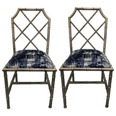 Pair of Italian Silver Painted Faux Bamboo Side Chairs