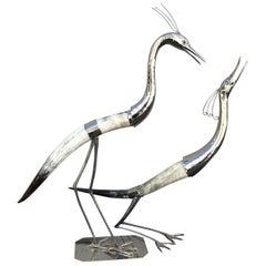 Pair of Italian Silver Plate & Horn Heron Bird Sculptures