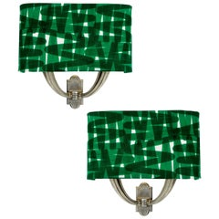 Pair of Italian Silver Sconces with Shades