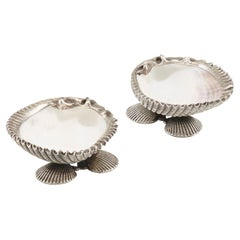 Pair of Italian Silver Shell-Form Dishes Open Salts