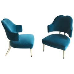 Pair of Italian Slipper Chairs Overpainted in White, Blue Velour Upholstery, 50s