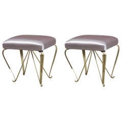 Pair of Italian Small Brass Stools