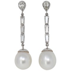 Pair of Italian South Sea Pearl and Diamond Dangling Earrings in 18 Karat Gold