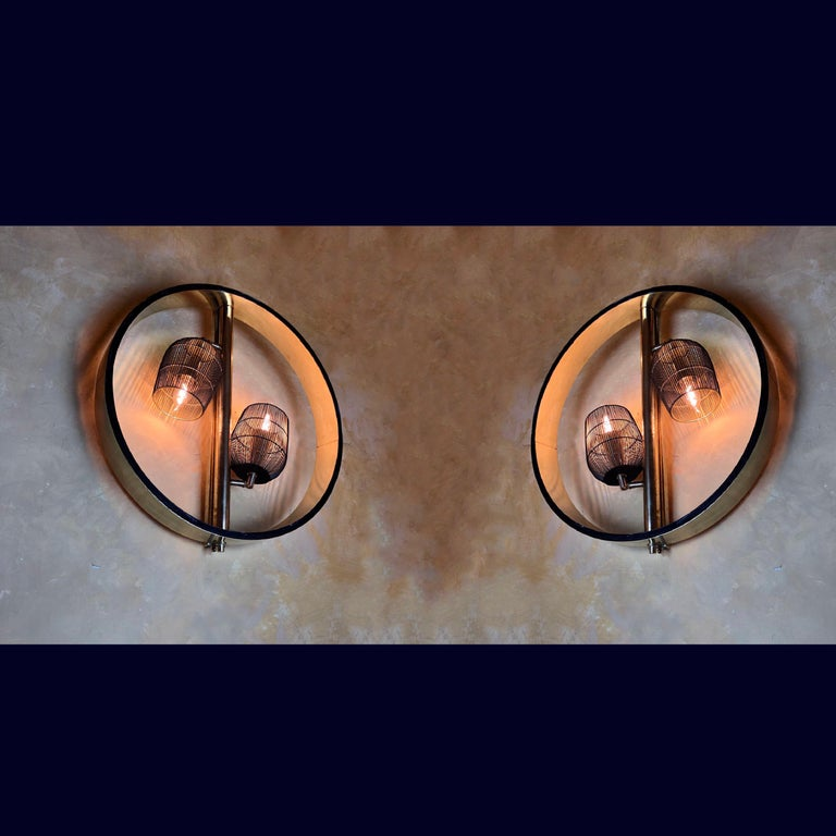 Pair of Space Age Round Brass Sconces with Adjustable Black Iron Lampshades For Sale 12