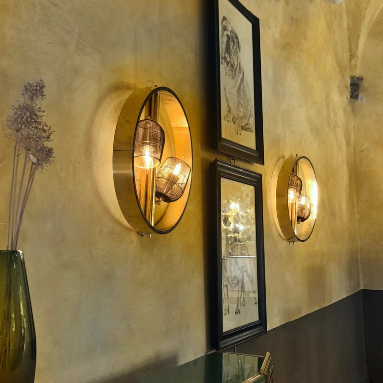 Pair of Space Age Round Brass Sconces with Adjustable Black Iron Lampshades For Sale 13