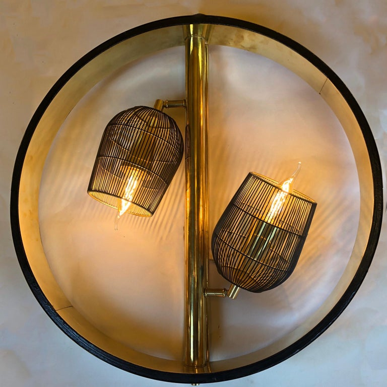 Mid-Century Modern Pair of Space Age Round Brass Sconces with Adjustable Black Iron Lampshades For Sale