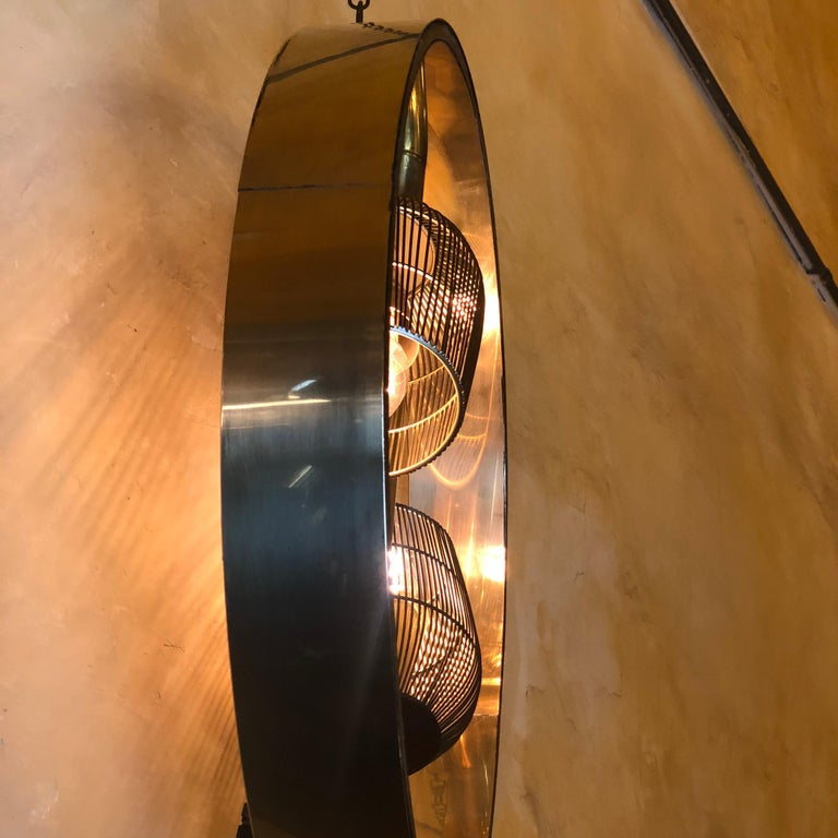 Painted Pair of Space Age Round Brass Sconces with Adjustable Black Iron Lampshades For Sale