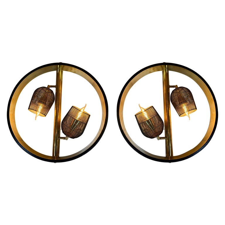 Pair of Space Age Round Brass Sconces with Adjustable Black Iron Lampshades For Sale