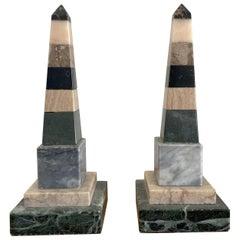 Pair of Italian Specimen Marble Obelisks in Pastel Colors