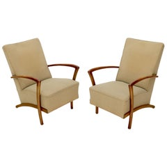 Pair of Italian Spring Loaded Seats Lounge Chairs
