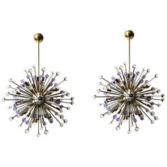 Pair of Italian Sputnik Chandeliers with Clear and Purple Murano Glass, 1990s