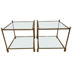 Pair of Italian Square Bronze and Glass End Tables Made in Italy