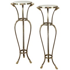 Pair of Italian Steel and Brass Pedestal Tables with Marble Tops and Ram's Heads