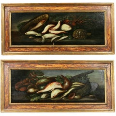 Pair of Italian Still Life Painting of Fish