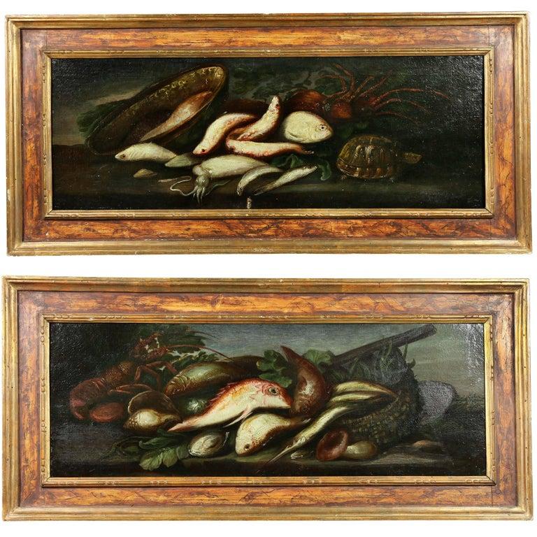 Pair of Italian Still Life Painting of Fish