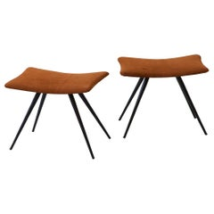 Pair of Italian Stools in Cognac Suede Leather And Black Steel Conical Legs