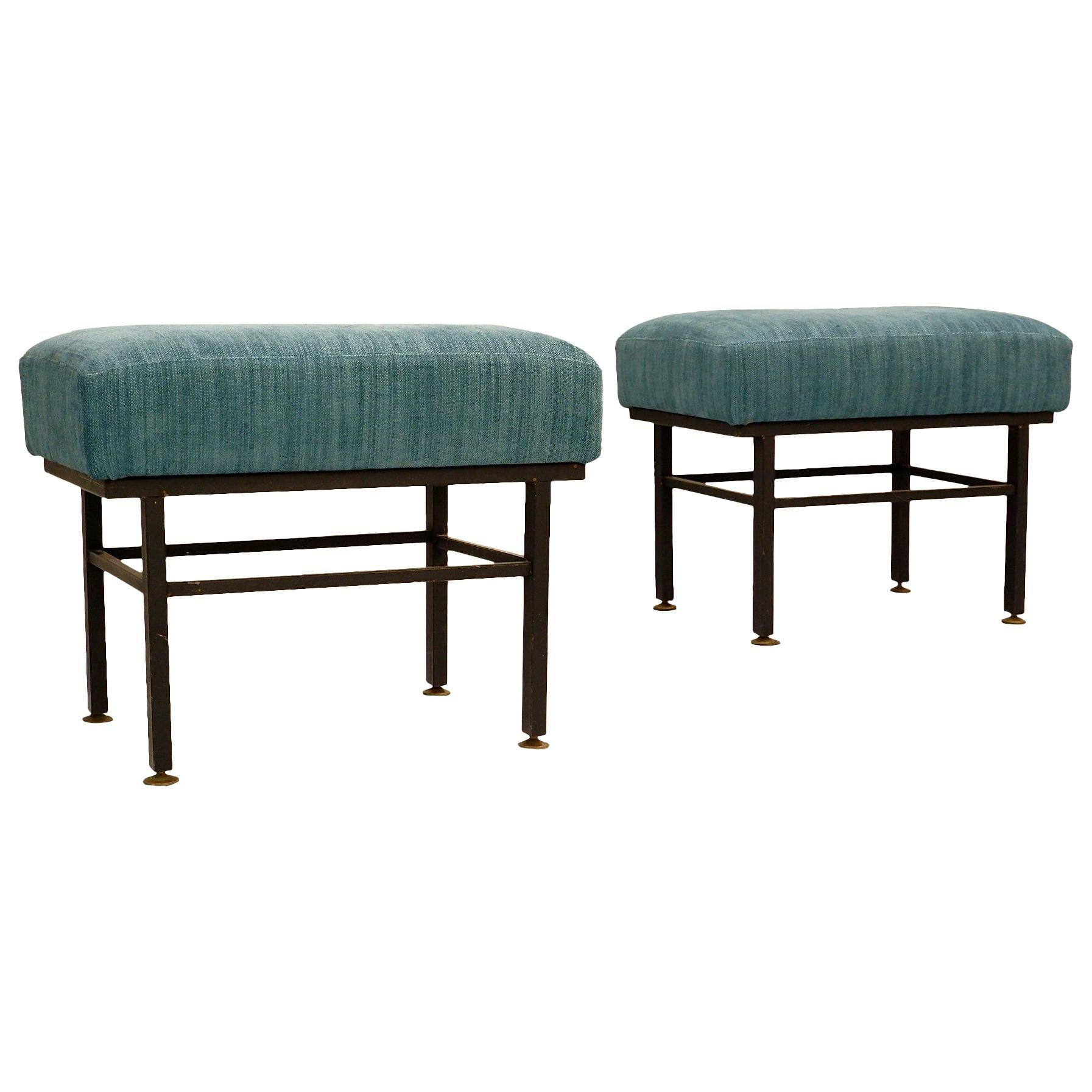 Pair of Italian Stools, New Upholstery