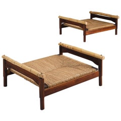 Pair of Italian Stools with Rosewood, Bamboo and Cane
