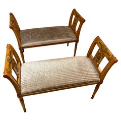 Pair of Italian Style Benches in a Honey Color with Painted Embellishments