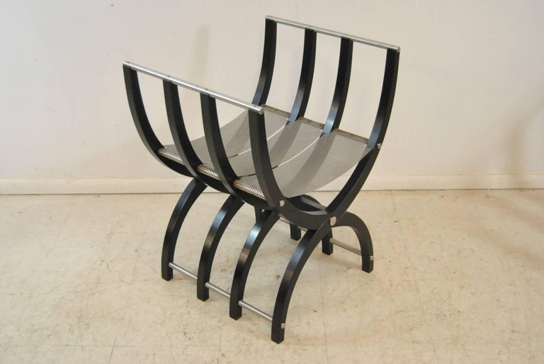Pair of Italian Style Black Lacquer Savonarola Chairs For Sale 1