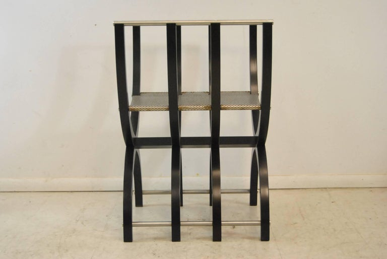 Pair of Italian Style Black Lacquer Savonarola Chairs For Sale 2