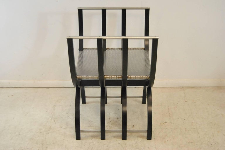 Pair of Italian Style Black Lacquer Savonarola Chairs For Sale 3
