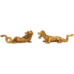 Pair of Italian Style Carved and Gold Painted Dragon Figures