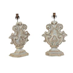 Pair of Italian Style Carved and Painted Wood Acanthus Leaf Motif Table Lamps