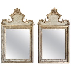 Pair of Italian Style Painted and Silver Gilt Mirrors
