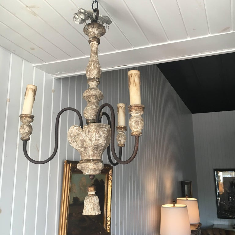 Tôle Pair of Italian Style, Three-Arm Chandelier with Tassel Detail For Sale