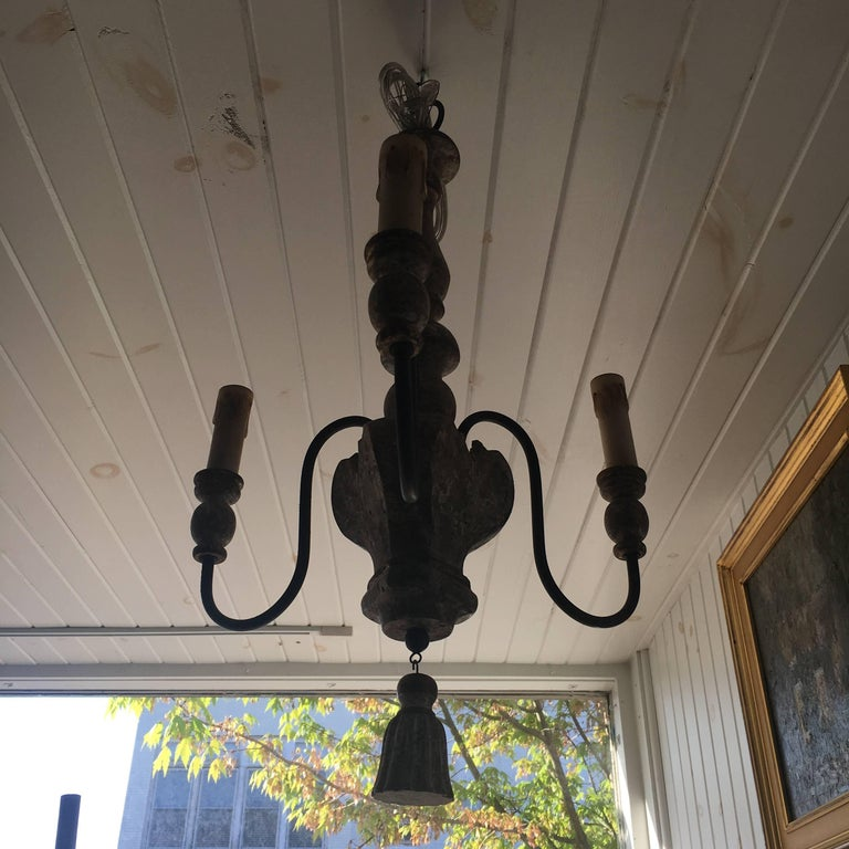 Pair of Italian Style, Three-Arm Chandelier with Tassel Detail For Sale 1
