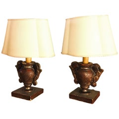Pair of Italian Table Lamps 19th Century Pair of Portapalme Altar Vases