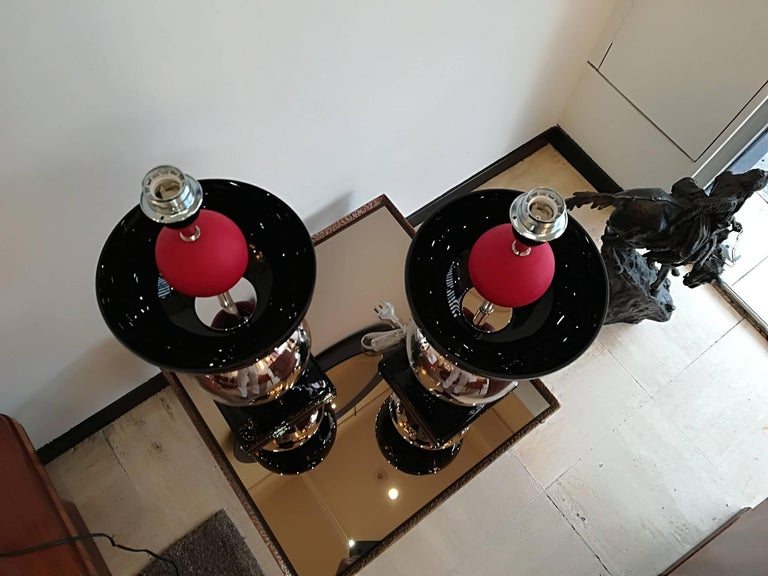 Pair of Italian Table Lamps in Handblown Murano Glass For Sale 5