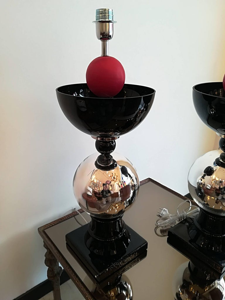 Pair of Italian table lamps in handblown Murano glass.