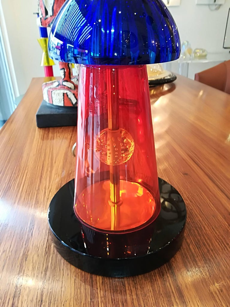 Modern Pair of Italian Table Lamps in Handblown Murano Glass For Sale