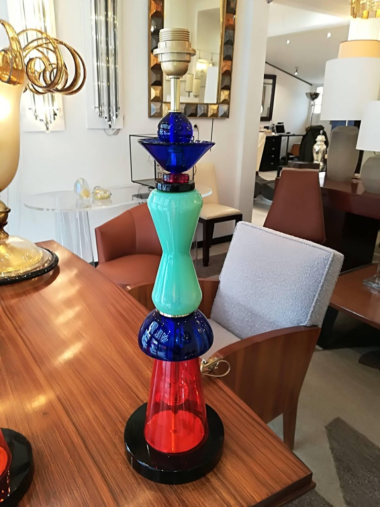 20th Century Pair of Italian Table Lamps in Handblown Murano Glass For Sale