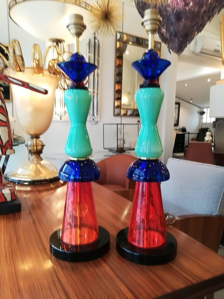 Pair of Italian Table Lamps in Handblown Murano Glass For Sale 1