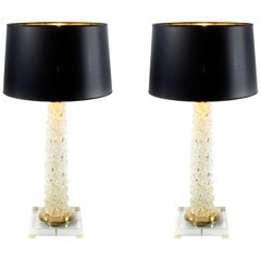 Pair of Italian Table Lamps in Murano Glass