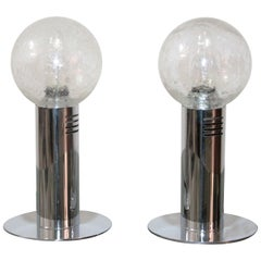 Pair of Italian Table Lamps Murano Glass Pulegoso in the Carlo Nason Style