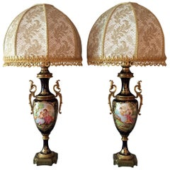 Pair of Italian Table Lamps Sèvres Style Blue Porcelain with Gold Lace Shades