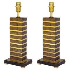 Pair of Italian Table Lamps w/ Smoky Murano Glass Blocks, 1990s.
