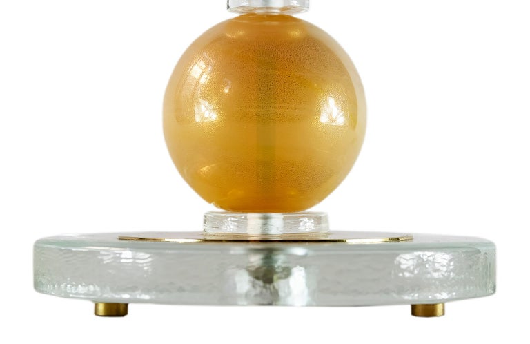 Pair of Italian Table Lamps with Murano Glass In Good Condition For Sale In Vilnius, LT