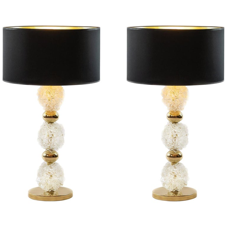 Pair of Italian Table Lamps with Murano Glass For Sale