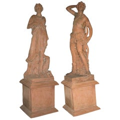 Pair of Italian Terracotta Garden Statues On Pedestals, Life-Size
