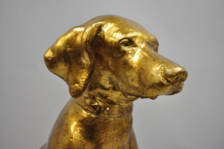 Pair of Italian Terracotta Gold Leaf Labrador Retriever Dog Statue Sculpture For Sale 6
