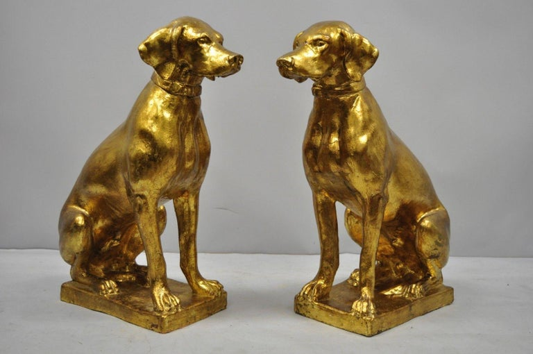 Pair of Italian Terracotta Gold Leaf Labrador Retriever Dog Statue Sculpture For Sale 7