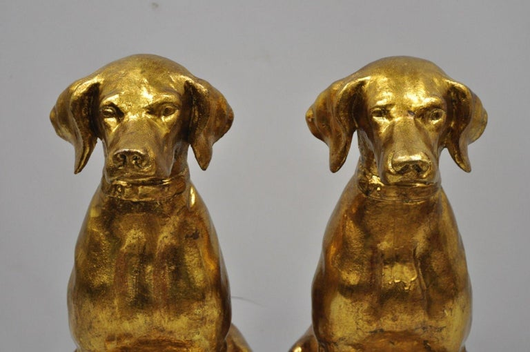 Pair of Italian Terracotta Gold Leaf Labrador Retriever Dog Statue Sculpture In Good Condition For Sale In Philadelphia, PA