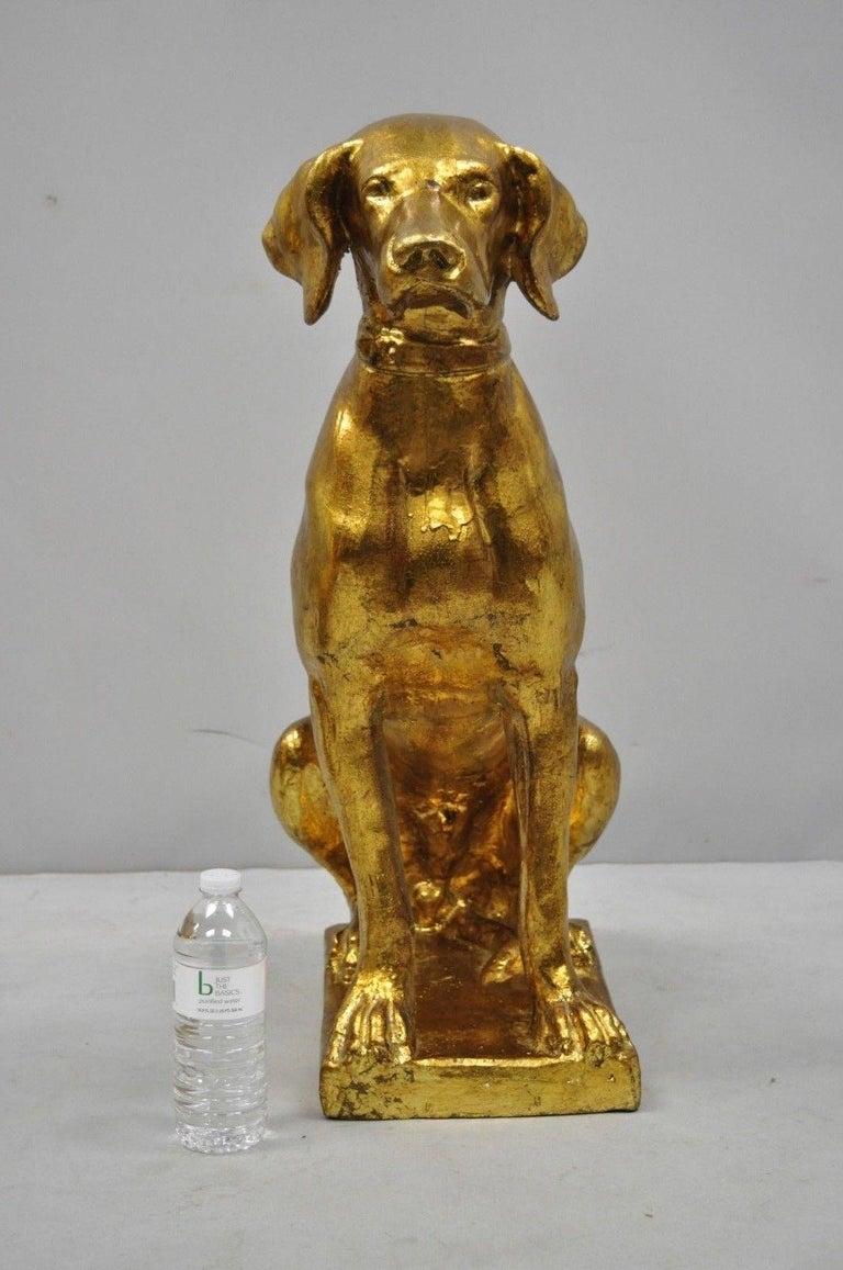 Late 20th Century Pair of Italian Terracotta Gold Leaf Labrador Retriever Dog Statue Sculpture For Sale