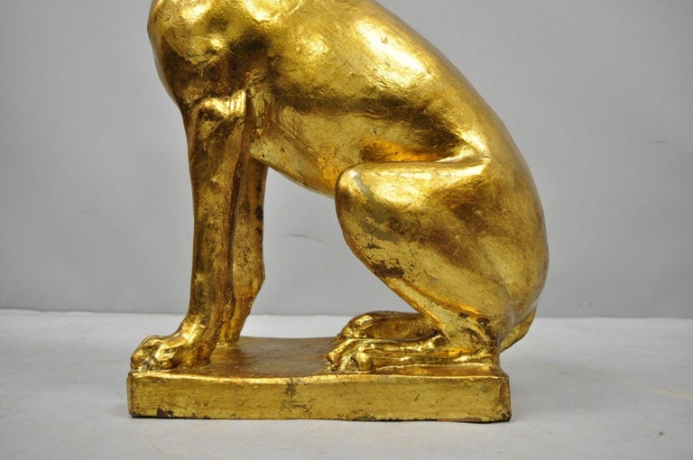 Pair of Italian Terracotta Gold Leaf Labrador Retriever Dog Statue Sculpture For Sale 2