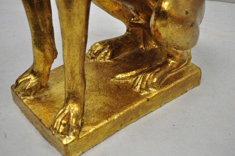 Pair of Italian Terracotta Gold Leaf Labrador Retriever Dog Statue Sculpture For Sale 3